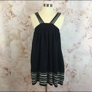 Free People Black Batiste Embroidered Dress